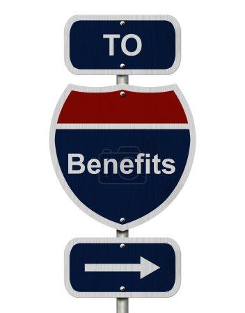 Photo pour Avantages de cette façon, Bleu et rouge Interstate Sign avec des avantages de mot et une flèche isolée sur blanc - image libre de droit