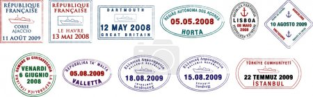 A collection of stylised European passport stamps on a white background