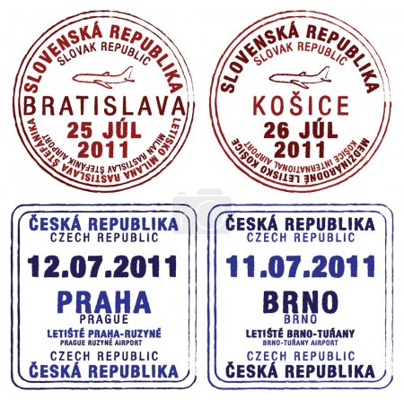 Passport stamps of Czech Republic and Slovakia
