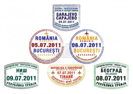 Passport stamps from Bosnia and Herzegovina, Romania, Serbia and Albania