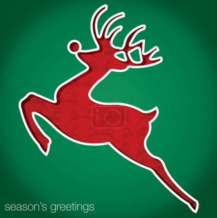 Reindeer Seasons Greetings cut out card in vector format
