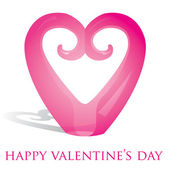 Koru heart ornament Valentine's Day card in vector format