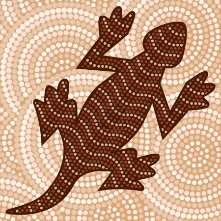 Illustration for Abstract Aboriginal lizard dot painting in vector format. - Royalty Free Image