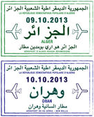 Stylized passport stamps of Algeria
