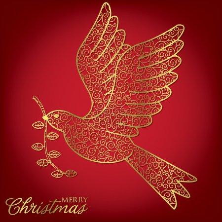 Illustration for Elegant filigree Christmas card in vector format. - Royalty Free Image