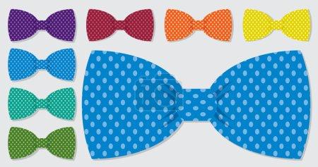 Illustration for Polka dot bow blue tie set - Royalty Free Image