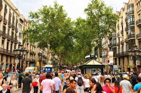 Barcelona, Spain - July 08, 2012: Crowds of touris...