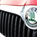 Skoda logo on red car