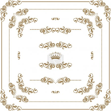 Illustration for Vector set of gold decorative horizontal floral elements, corners, borders, frame, dividers, crown. Page decoration. - Royalty Free Image