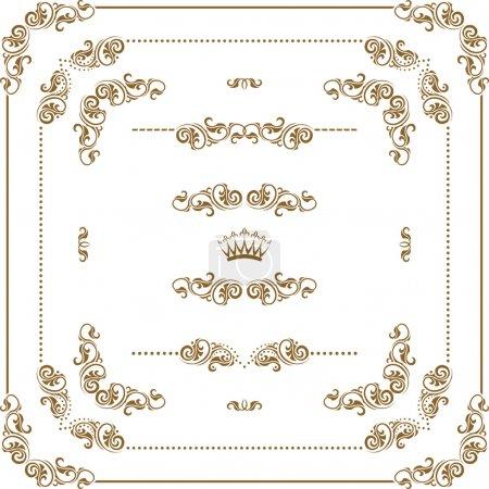 Photo pour Set Vector d'or décoratifs horizontale des éléments floraux, coins, frontières, cadre, diviseurs, Couronne. décoration de la page - image libre de droit