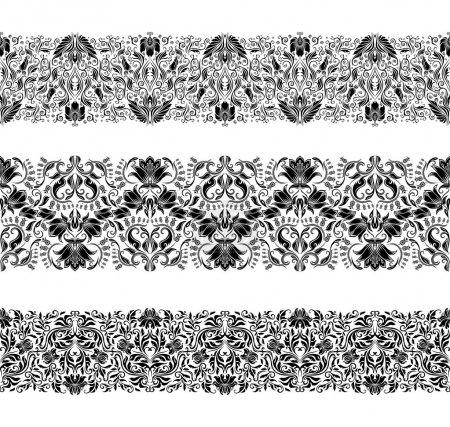 Illustration pour Ensemble de motif de dentelle vectorielle, éléments décoratifs, bordures pour le design. Ornement sans couture. Décoration de page . - image libre de droit
