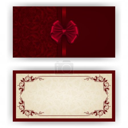 Illustration for Elegant template luxury invitation, card with lace ornament, bow, place for text. Floral elements, ornate background. Vector illustration - Royalty Free Image