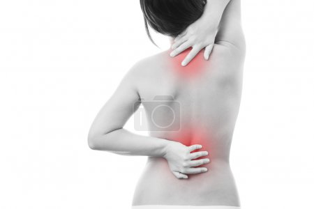 Photo for Pain in back of women. Isolated on white background. Caring for the female body. Red dot - Royalty Free Image