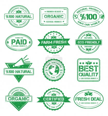 Collection of natural stamp style badges...