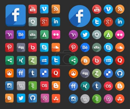 Illustration for 45 x 2 style vector shaped social media vector icons. - Royalty Free Image