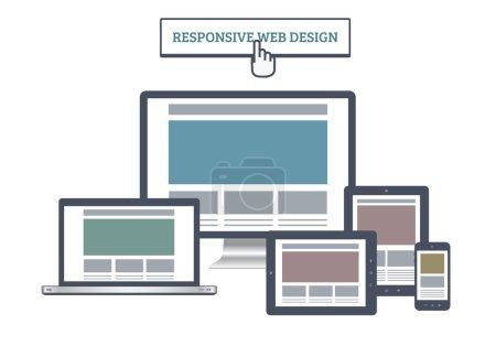 Illustration pour Mises en page Web sensibles de style plat avec plusieurs appareils . - image libre de droit