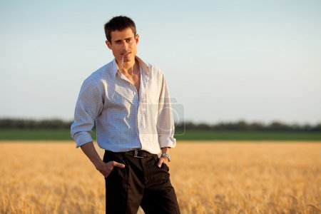 Businessman in a field