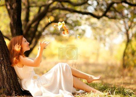 portrait of autumn happy woman