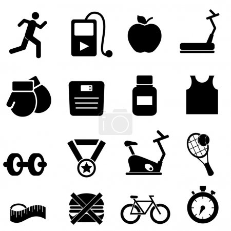 Fitness, health and diet icons