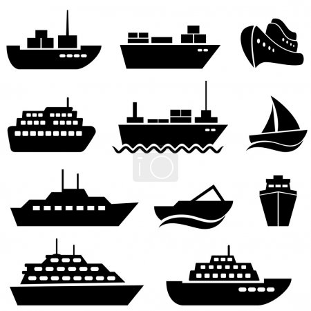 Illustration for Ship and boat icon set - Royalty Free Image