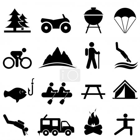 Illustration for Leisure, outdoors and recreation icon set - Royalty Free Image