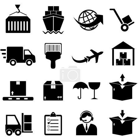 Ilustración de Carga y envío conjunto de iconos - Imagen libre de derechos
