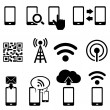 Cell phone, wireless, mobile and wifi icon set...