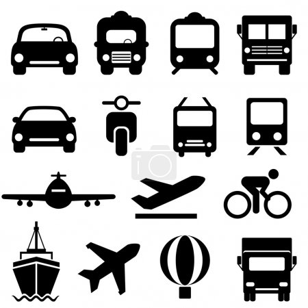Illustration for Transportation icon set in black - Royalty Free Image