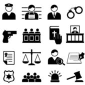 Legal justice and court icon set