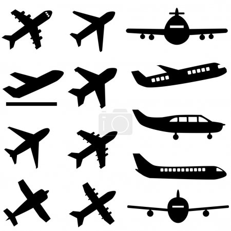 Illustration for Various planes in black - Royalty Free Image