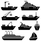 Ships boats cargo logistics and shipping icons