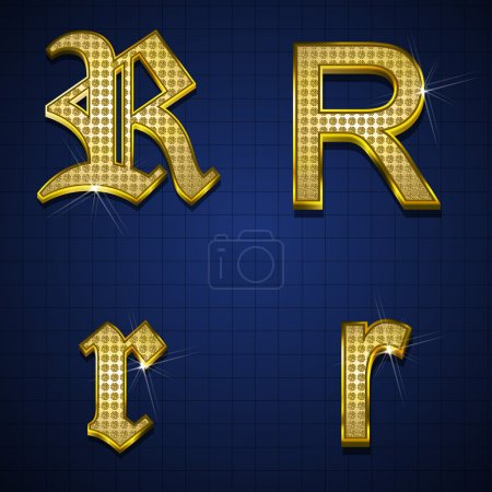 Illustration for Luxurious alphabets designed with gold diamonds - Royalty Free Image