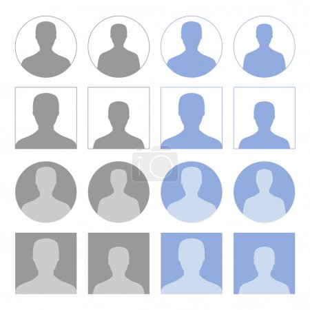 Illustration for Set of round and square profile icons - Royalty Free Image