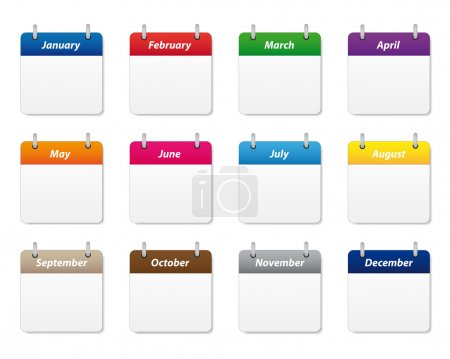 Calendar icons in various colors...