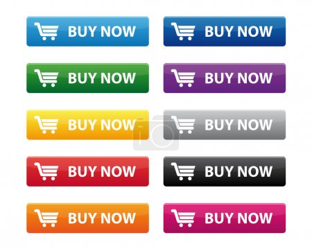 Illustration for Buy now buttons in various colors - Royalty Free Image