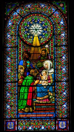 Stained Glass Magi Three Kings Baby Jesus Mary Monastery Montserrat