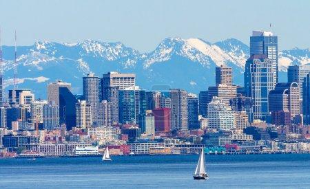 Seattle Skyline Sailboats Puget Sound Cascade Mountains Washingt