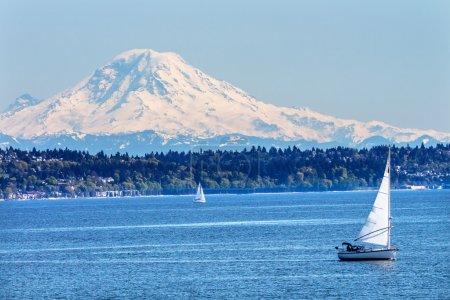 Mount Rainier Puget Sound North Seattle Snow Mountain Washington