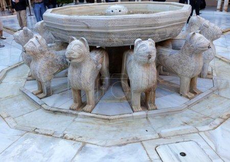 Alhambra Moorish Courtyard Lions Fountain Statue Granada Andalus