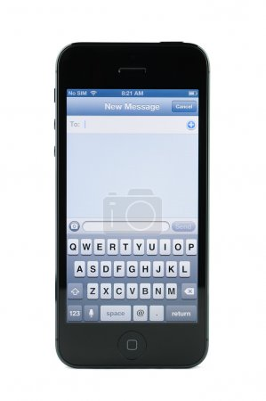Photo for Text messaging screen on iPhone 5 isolated in white background - Royalty Free Image