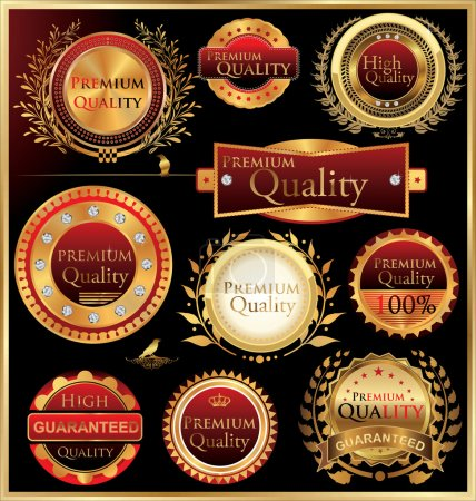 Set of golden quality labels and emblems...