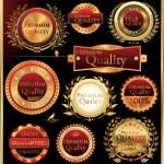 Set of golden quality labels and emblems...