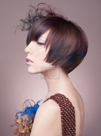 Elegant lady with short hairstyle