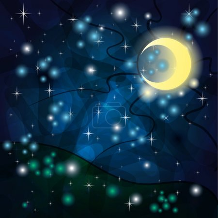 Illustration for Fantasy background with Tribal Moon and field at Night - Royalty Free Image
