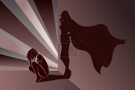 Illustration for Sad woman crouched with Superhero's Shadow on wall - Royalty Free Image