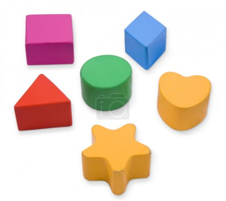 Photo for Wooden blocks, different primary shapes and colors for children - Royalty Free Image