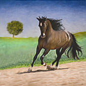 Painting portrait of a horse