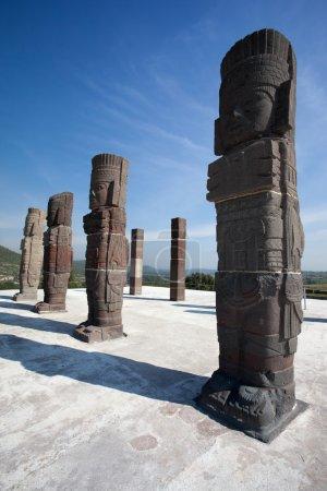 Toltec warriors. Ancient ruins of Tula de Allende