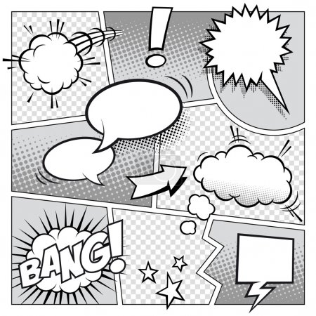 Illustration for A high detail vector mockup of a typical comic book page with various speech bubbles, symbols and sound effects. - Royalty Free Image