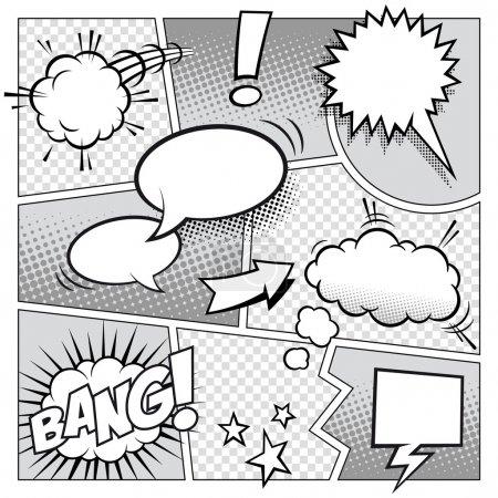 Illustration pour Une maquette vectorielle détaillée d'une page de bande dessinée typique avec différentes bulles d'expression, symboles et effets sonores . - image libre de droit